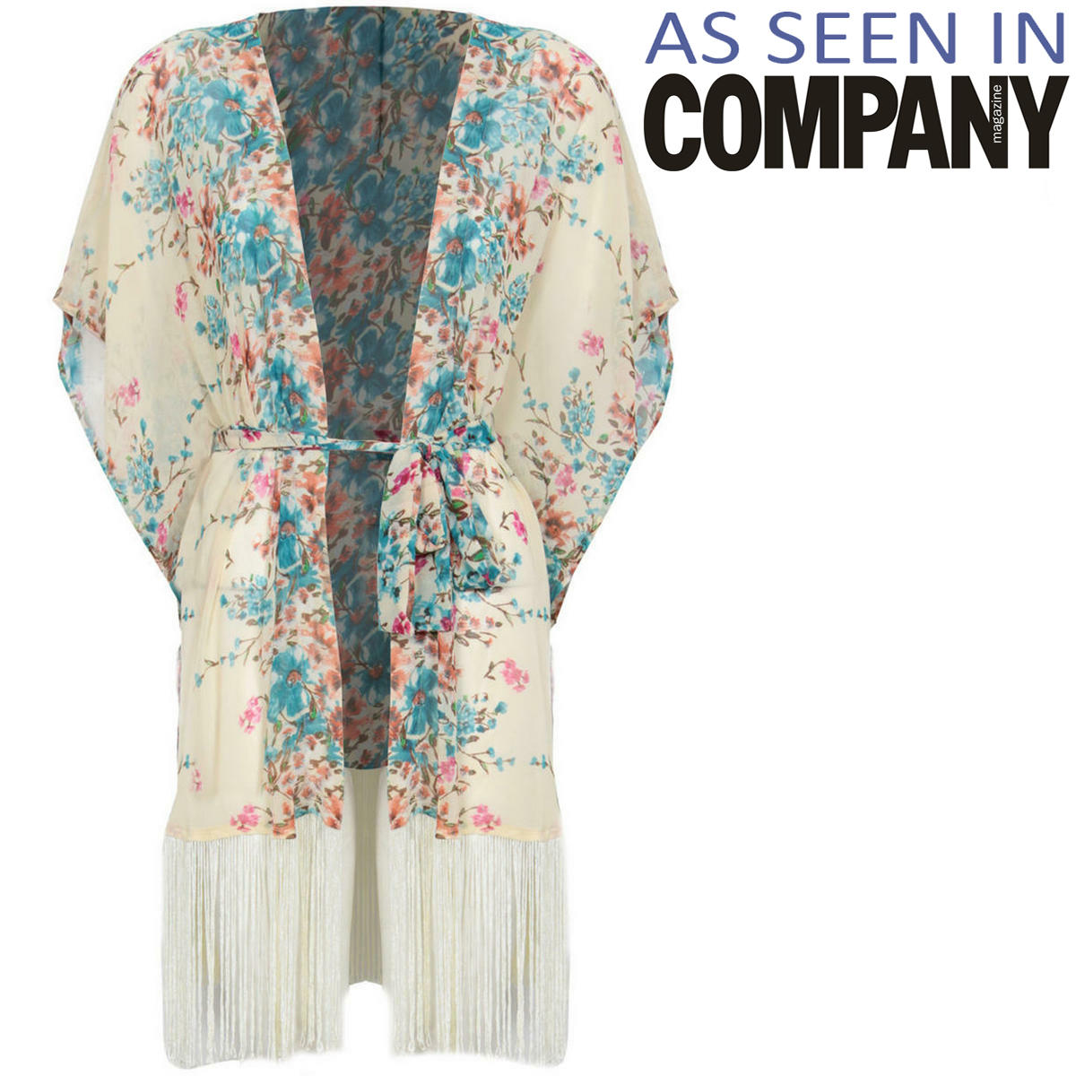 Floral Print Fringe Tassel Kimono  Preview